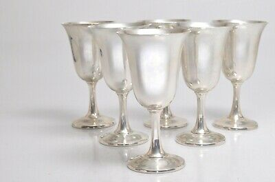 SET OF 6(six) VINTAGE STERLING SILVER GOBLETS BY WALLACEmarked #14