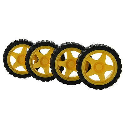 4X Small Smart Car Model Robot Plastic Tire Wheel 65x26mm for arduino fashion SG