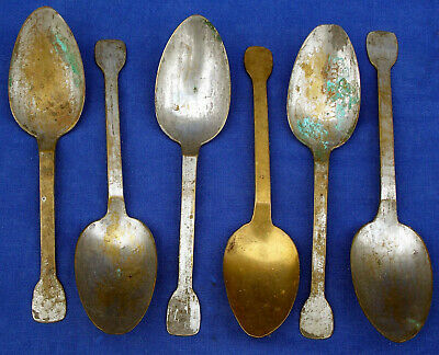 Rare 18th century set of 6 French tinned latten brass spoons circa 1725