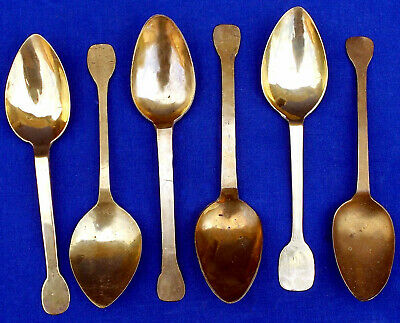 Fine and rare 18th century set of 6 French latten brass spoons circa 1725