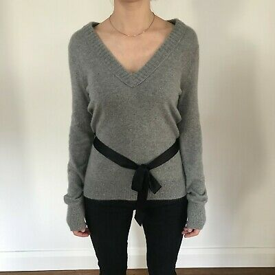Marc Jacobs Bow Detail Cashmere Wool Grey Knitted Jumper Top, Size S