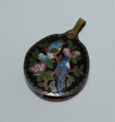Antique Chinese Cloisonne Pendant With Magnifying Glass Swivel Birds Flowers
