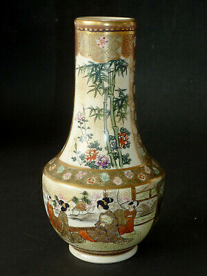 Genuine ANTIQUE JAPANESE SATSUMA hand painted VASE c1920 Signed TAISHO geisha