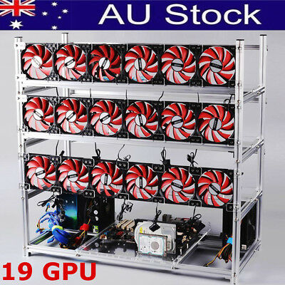 19 GPU Silver Stackable Open Air Fan Mining Rig Frame Case For ETH BTC Ethereum