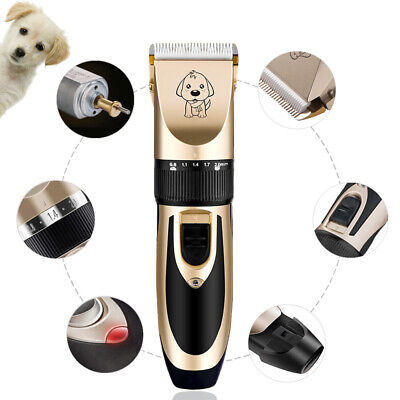 Electric Rechargeable Pet Dog Cat Clipper Hair Trimmer + Combs Grooming Kit AU