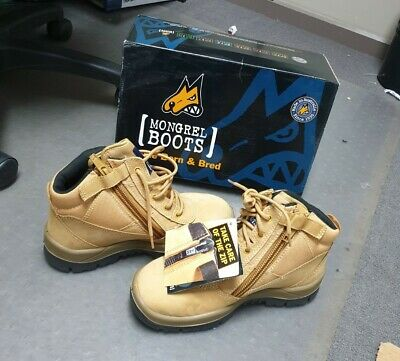 Mongrel 261050 Work Boots Steel Toe Safety Wheat Zip Sider size 6.5