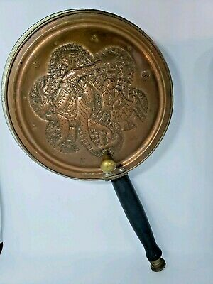 Vintage Brass Copper Nader Pan with Hinged Lid and Wood Handle Made in Iran