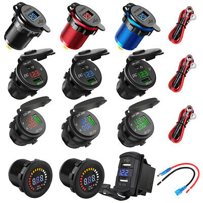 12V-24V Dual USB Charger LED Digital Display Voltage Amp Gauge Ammeter Voltmeter