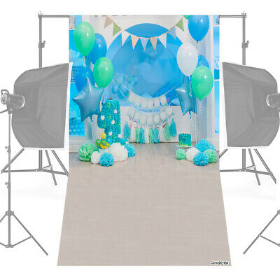 Andoer 1.5 * 0.9m/5 * 3ft First Birthday Party Photography Background Blue K4U1