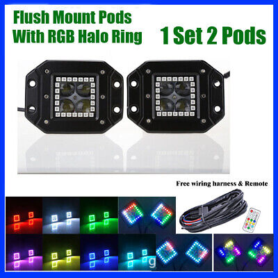 2x 24W Flush Mount 4D LED Work Light Spot Pods w/ RGB Halo Ring Chasing + Wiring