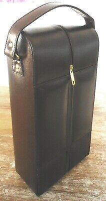 """""""CARLO ROSSINI"""" (ITALY) ALL LEATHER DUO WINE BOTTLE CARRIER w. INSULATED LINING"""