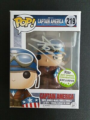 Funko Pop Marvel Captain America ECCC 2017 Stan lee Signed W/Certificate VAULTED