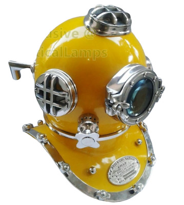 "Boston New US navy mark V 18"" diving divers helmet deep sea chrome yellow finish"