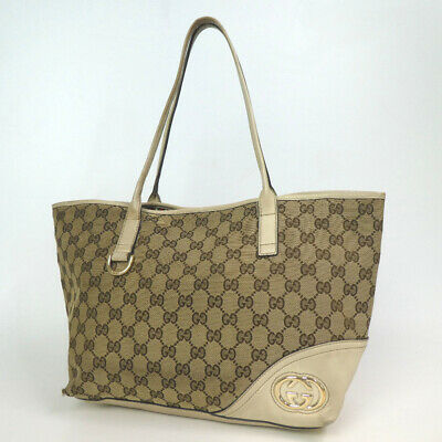 bd11a8cceaa8 AUTHENTIC GUCCI 141976 GG Supreme GG Plats Tote bag PVC canvas ...