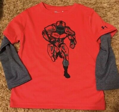 Under Armour Toddler Boys 3T Red Long Sleeve Shirt New Without Tags Never Worn