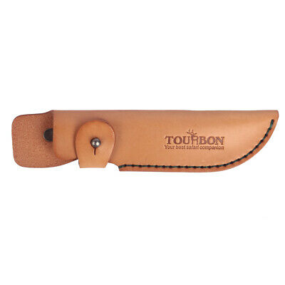 Tourbon Real Leather Knife Sheath Cover Knives Holder Holster Fixed Blade Brown