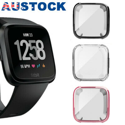 For Fitbit Versa Silicone TPU Shell Case Screen Protector Frame Cover LG