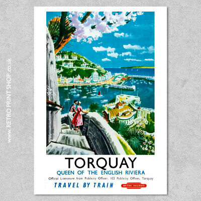 BR Torquay Poster - Railway Posters, Retro Vintage Travel Poster Prints