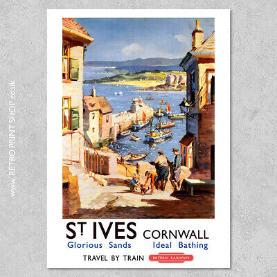 BR St Ives Poster - Railway Posters, Retro Vintage Travel Poster Prints
