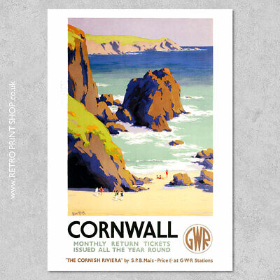 GWR Cornwall Poster - Railway Posters, Retro Vintage Travel Poster Prints
