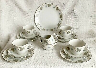 VINTAGE WHITE MIST VINEWOOD PATTERN -  4 PLACE TEA SET - 50s 60s RIDGWAY