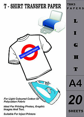 20 x A4 Inkjet T-Shirt Transfer Paper For Light Fabrics/ Fast Shipping