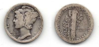 USA antigua moneda de plata de 1 Mercury Dime año 1938
