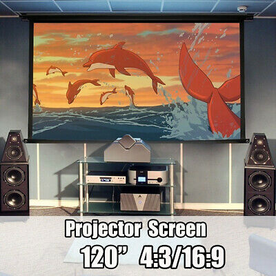 120 inch 16:9 Electric HD Projector Projection Screen Cinema Theater Portable