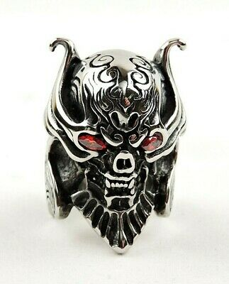 Stainless Steel 2 Color Grinning Ghost Skull Biker Ring with Light Siam Red CZ