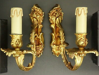 Pair Of Sconces Stamped, Louis Xv Style, Era 19Th - Bronze - French Antique