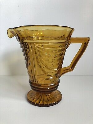 Lovely Vintage Art Deco Sowerby Amber Glass Lemonade, Water Jug/Pitcher