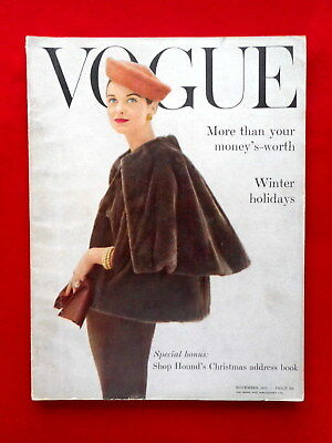 VOGUE November 1955 (London). Cover von Henry Clarke, 208 Seiten