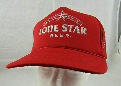 5d9da478 Lone Star Beer Texas Trucker Hat EUC Red Alcohol Craft Local Snapback  Hipster