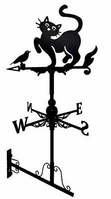 Wall mounted and Floor standing Weathervane Steel Cat and bird Weathervane Gift