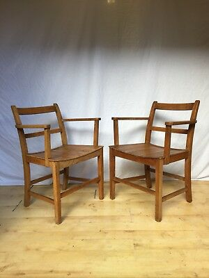 Pair Vintage Antique Oak Glenister High Wycombe Armchair Chairs Arts And Craft