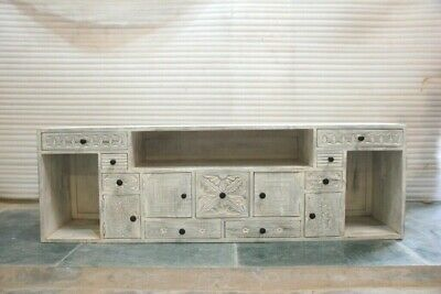 MADE TO ORDER Hand Carved Solid wood Entertainment Unit TV stand whitewash 1.75m