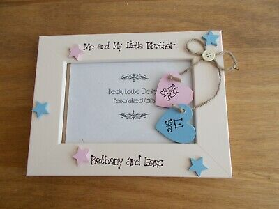 Personalised Photo Frame by Filly Folly Baby Brother Gift! New Big Brother