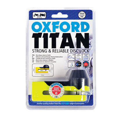 Oxford Titan Motorcycle Strong 10mm Pin Disc Lock OF51 Yellow OF51 Oxford Disc