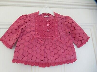 3-6m: Pretty pink broderie anglaise top/blouse: MONSOON Good condition