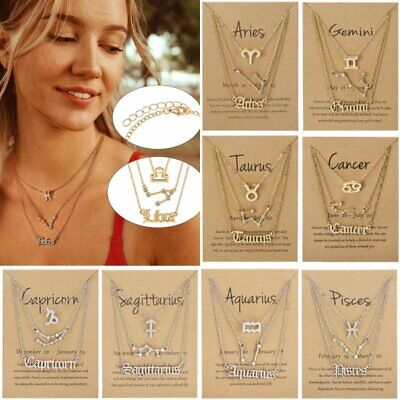 925silver Star Zodiac Sign 12 Constellation Necklace Pendant Women Long Chain