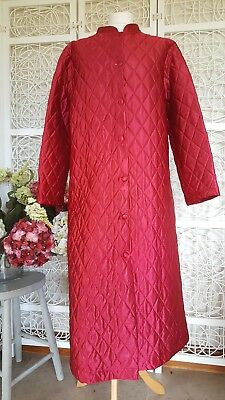 Vintage Quilted Nylon Dressing Gown Robe Red Sz 14-16