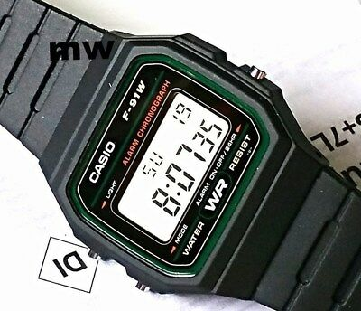 Casio F91W-3A Classic Digital Black Resin Sports Alarm Chronograph Watch New