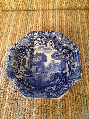 Copeland Spode's Italian Blue & White Small Octagonal China Footed Bowl