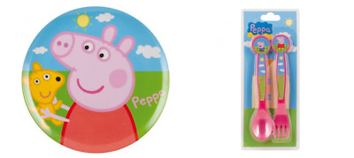 Official Peppa Pig Dinner Set Plate 20cm And 2 Piece Cutlery Set-Fork and Spoon