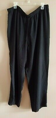 Jones New York Sport Pants Women's 2X Black Elastic Waist Loose Fit Wide Leg