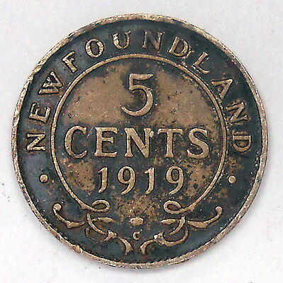 1919c Newfoundland Five Cents F Nice SCARCE Date TONED George V OLD Nfld. SILVER