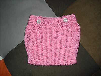 Girls hand knitted nappy cover,0-3 months.
