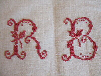 Beautiful Antique Vintage French PURE Linen Homespun Sheet Country Chic Monogram