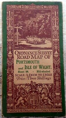 O/S Map PORTSMOUTH & ISLE of WIGHT 1914 half-inch to mile (hill-shaded)