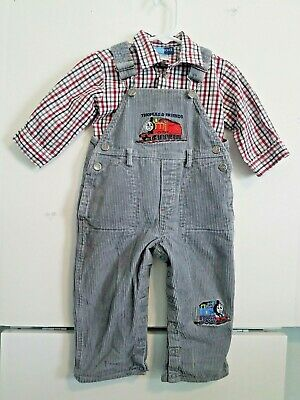 Baby Boys 12 Month Thomas & Friends Embroidered Overalls & Good Lad Shirt Set!